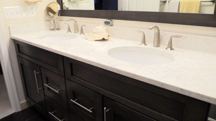 quartz bathroom countertops with sink tomthetrader